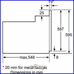 Bosch HHF113BA0B Serie 2 Built In 59cm A Electric Single Oven Black 2Y warranty