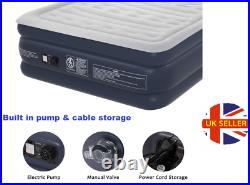 Delux Air Bed Blow Up Mattress Inflatable Raised Built-in Electric Pump