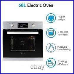 ElectriQ 68L Pyrolytic Self Cleaning Electric Single Oven in Stainless Steel