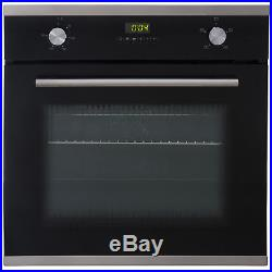 SIA Black Single 60cm Electric Oven Ceramic Hob & Chimney Cooker Hood Extractor