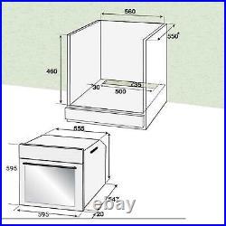 SIA FSO10BL 60cm Black 71L Capacity Built-in 6 Function Electric Single Fan Oven
